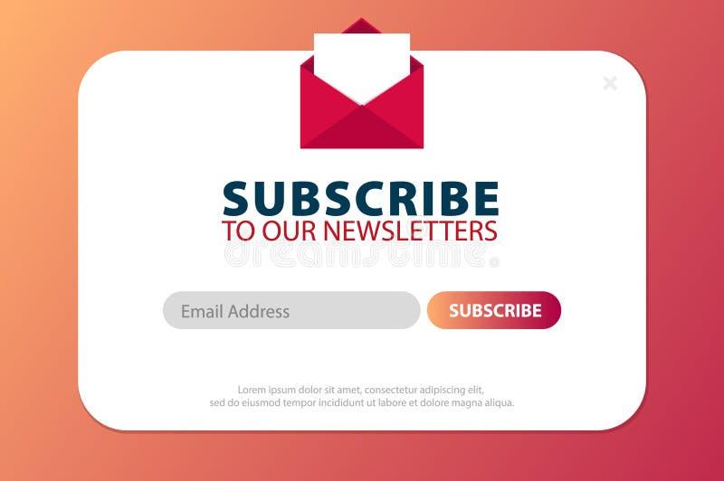 El correo electrónico suscribe, hoja informativa en línea, somete el botón Sobre y suscribir el botón Diseño de UI UX Ilustración libre illustration