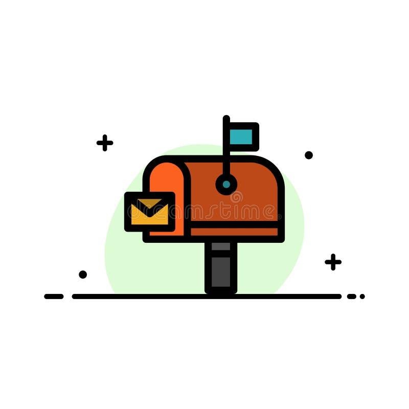 El correo, poste, buzón, línea plana del negocio de la oficina de correos llenó la plantilla de la bandera del vector del icono libre illustration