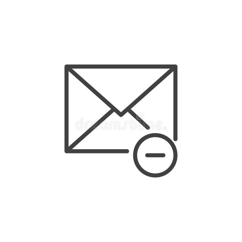 El correo quita la línea icono stock de ilustración