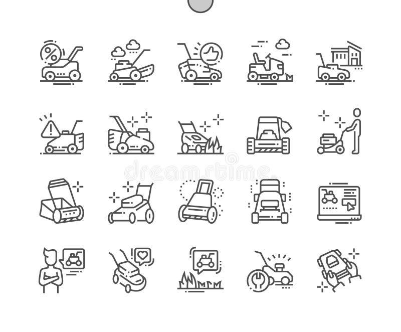 El cortacésped Bien-hizo la línea fina rejilla 2x de los iconos 30 del vector a mano perfecto del pixel para los gráficos y Apps  libre illustration