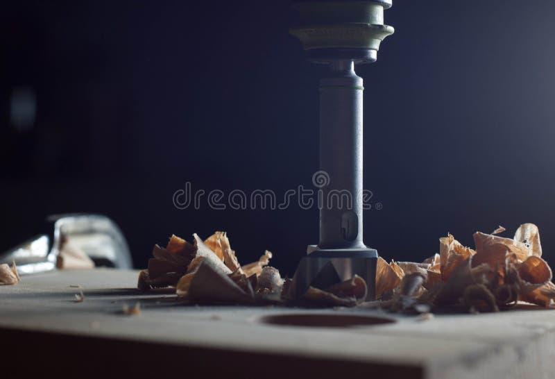 El cortador del ` s de Forstner mordió para los agujeros con serrín foto de archivo