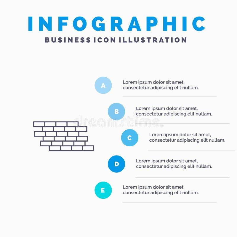 El cortafuego, seguridad, pared, ladrillo, ladrillos alinea el icono con el fondo del infographics de la presentación de 5 pasos libre illustration