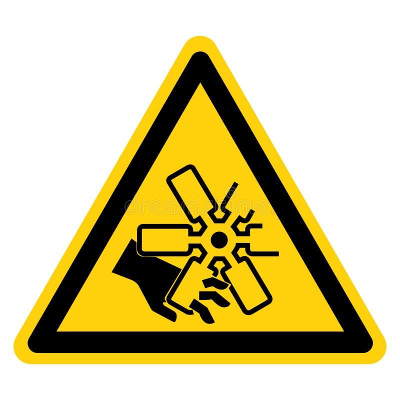 El cortar de fingeres o de la muestra del símbolo de la fan de motor de la mano, ejemplo del vector, aislante en la etiqueta blan ilustración del vector