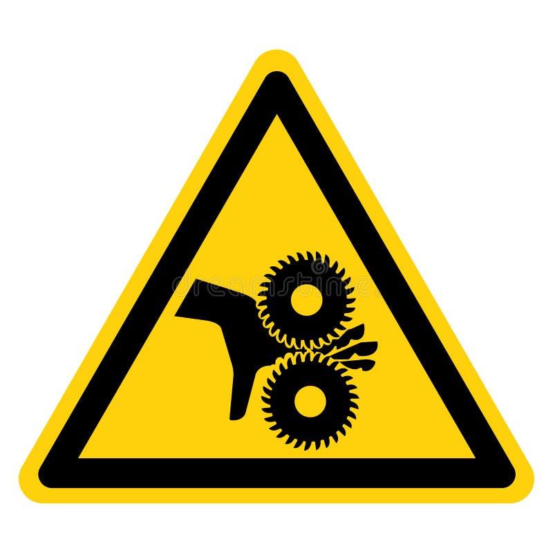 El cortar de los fingeres que giran la muestra del símbolo de las cuchillas, ejemplo del vector, aislante en la etiqueta blanca d stock de ilustración