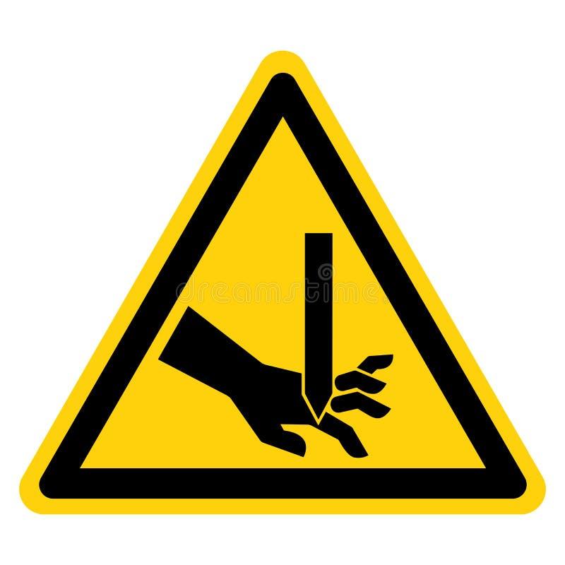 El cortar del aislante recto de la muestra del símbolo de la cuchilla de los fingeres en el fondo blanco, ejemplo del vector libre illustration