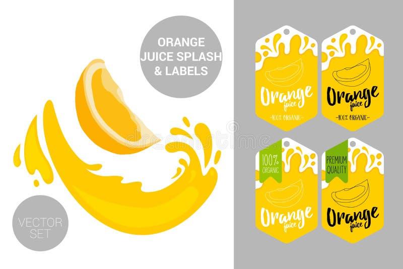 el corte anaranjado con el jugo salpica Etiquetas de las etiquetas de la fruta y texto orgánicos del zumo de naranja Etiquetas en stock de ilustración