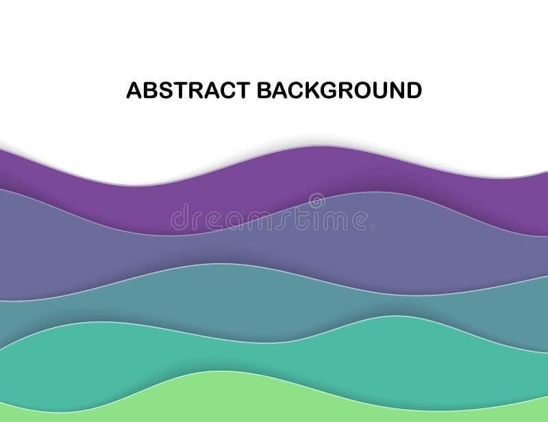 El corte de papel acodado forma el fondo abstracto 3D Tarjeta de la onda del mar Disposición de Papercut Papiroflexia acodada de  ilustración del vector
