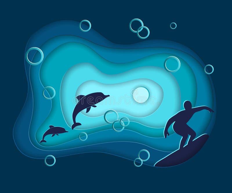El corte del papel, paisaje del agua del océano del mar del vector con las ondas, delfínes, practicando surf, capas en papiroflex stock de ilustración