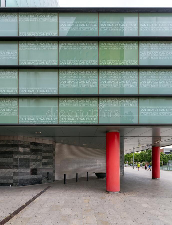 Frontal of the main entrance of El Corte Ingles Barcelona stock image