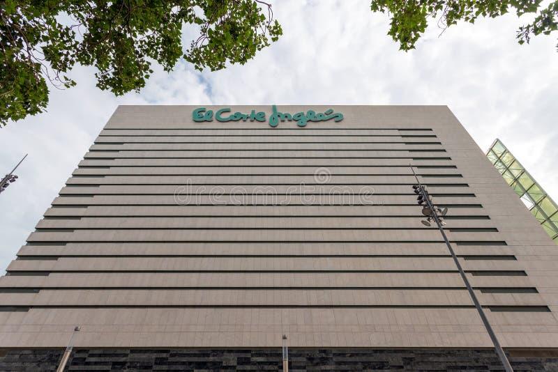 The big building of El corte Ingles stock images