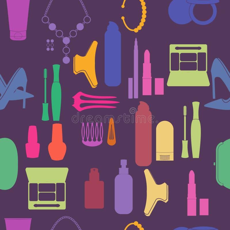 El cosmético, compone y los iconos y fondo de la belleza libre illustration