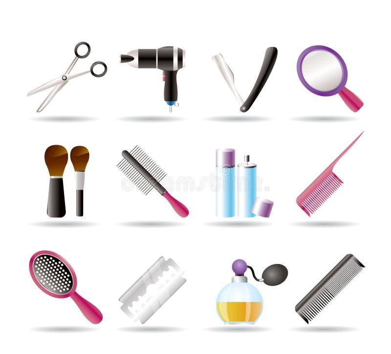 El cosmético, componen y los iconos de la peluquería ilustración del vector