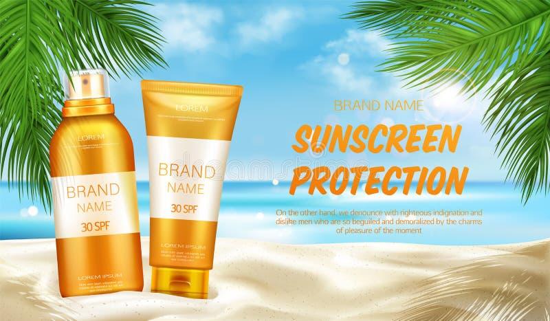 El cosmético de la protección de la protección solar, imita encima de bandera libre illustration