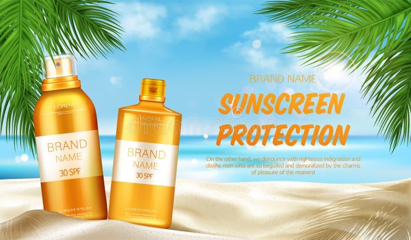 El cosmético de la protección de la protección solar, imita encima de bandera ilustración del vector