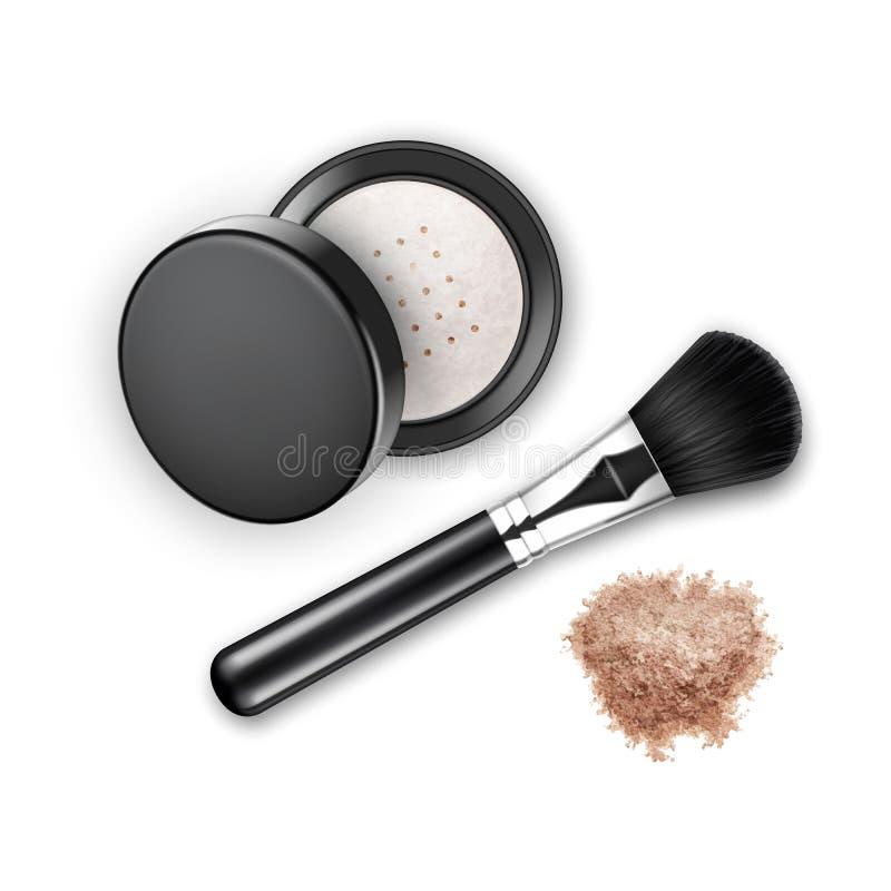 El cosmético desmenuzado de la cara compone colorete del polvo en estuche de plástico redondo negro con el cepillo del maquillaje libre illustration
