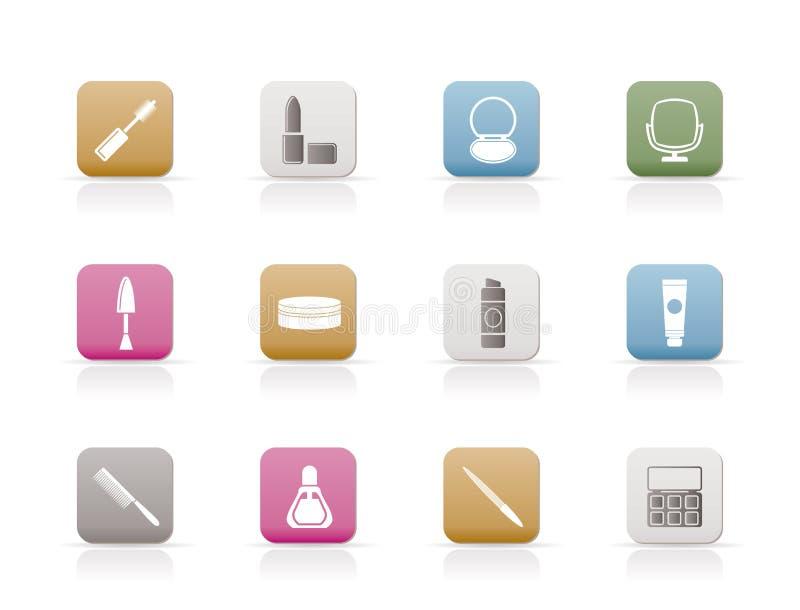 El cosmético y compone iconos ilustración del vector