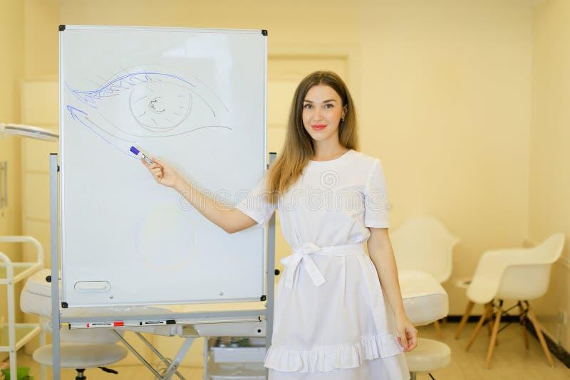El cosmetologist femenino dibuja el ojo en cartel en el gabinete de la cosmetología foto de archivo libre de regalías