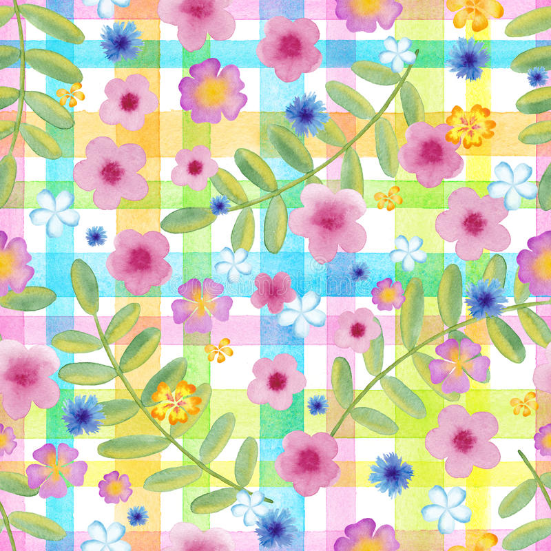 El cosmos inconsútil de las flores en una guinga comprueba colores amarillos flores azules en el ornamento de las rayas Acuarela  stock de ilustración