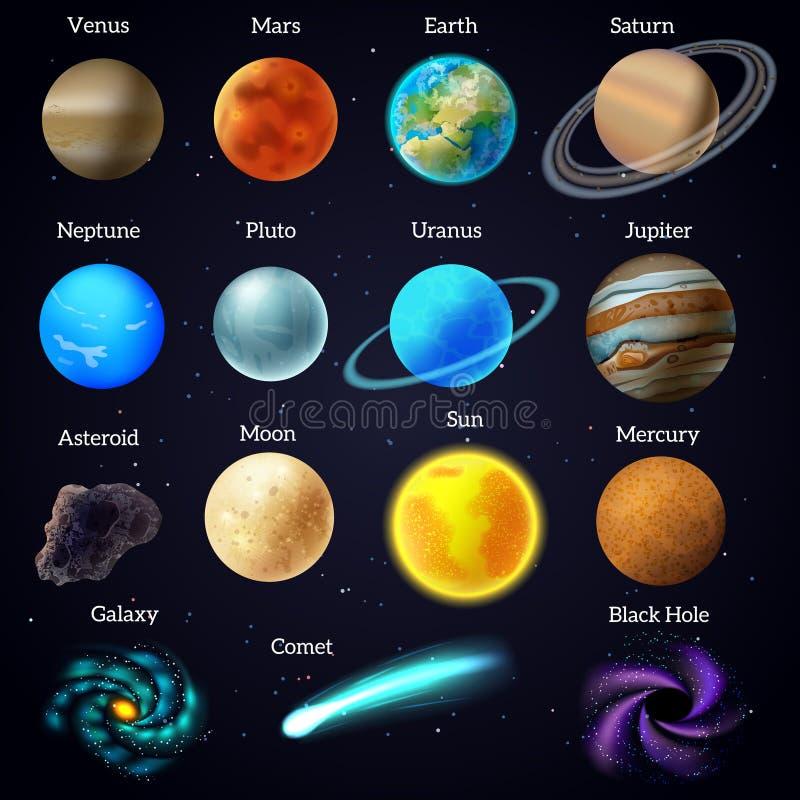 El cosmos protagoniza los iconos de la galaxia de los planetas fijados ilustración del vector