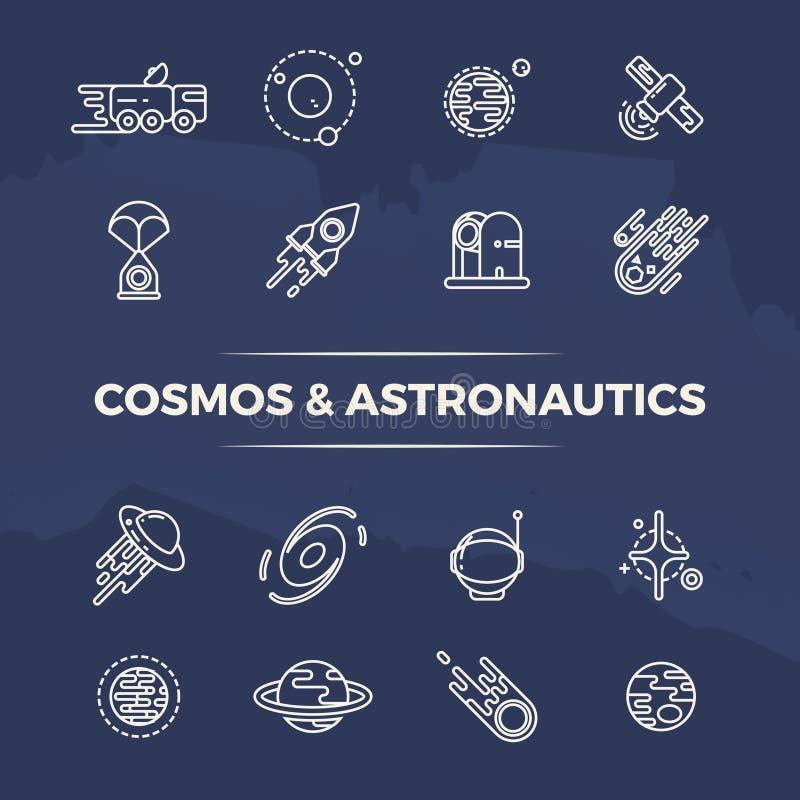 El cosmos y la astronáutica alinean los iconos - planetas, espacio, línea concepto de los cohetes stock de ilustración