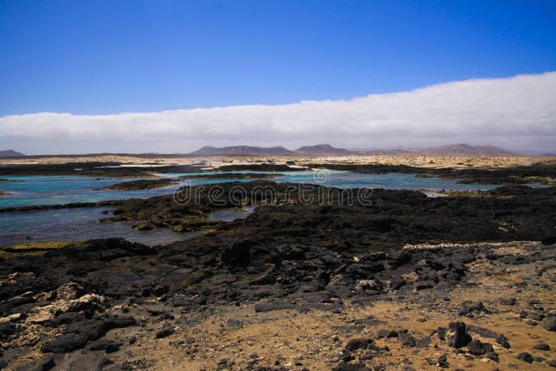 El Cotillo -法鲁del托斯顿:在岩石概略的海岸线的全景与自然盐水湖和水池在费埃特文图拉岛北部  库存图片