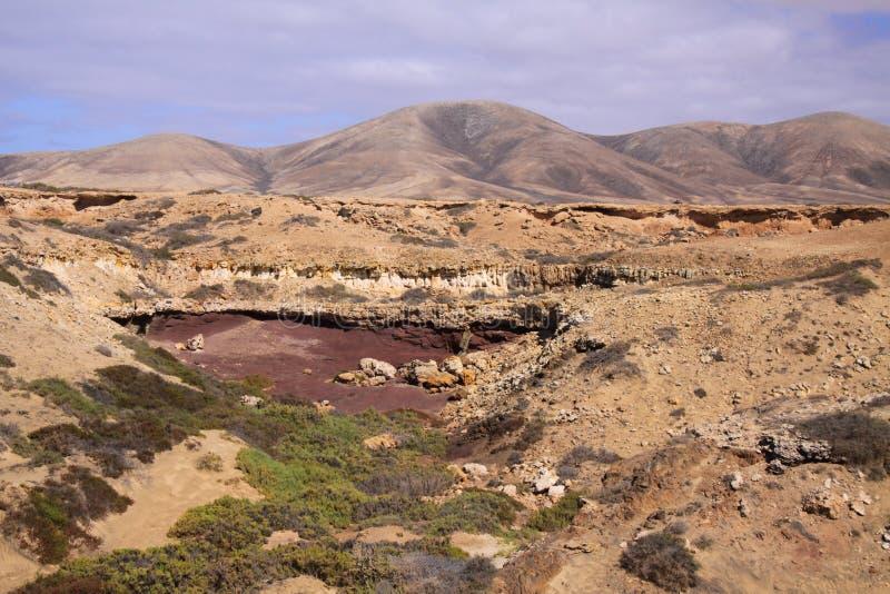 El Cotillo, północny Fuerteventura: Widok nad suchym krajobrazem na wzgórzach zdjęcie stock