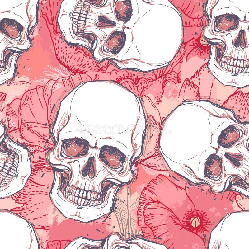 El cráneo con la peonía, color de rosa humanos y la amapola florece en el CCB de la acuarela stock de ilustración