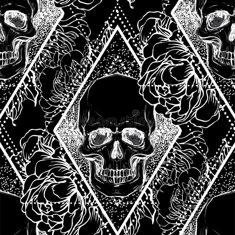 El cráneo con la peonía, color de rosa humanos y la amapola florece sobre geome sagrado ilustración del vector