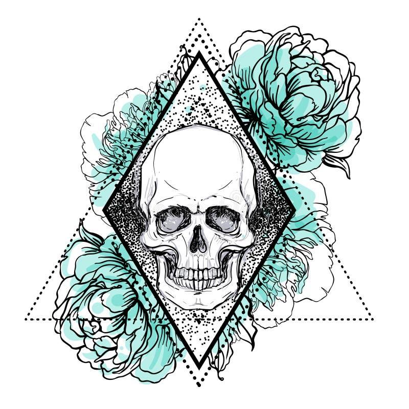 El cráneo con la peonía, color de rosa humanos y la amapola florece sobre geome sagrado stock de ilustración