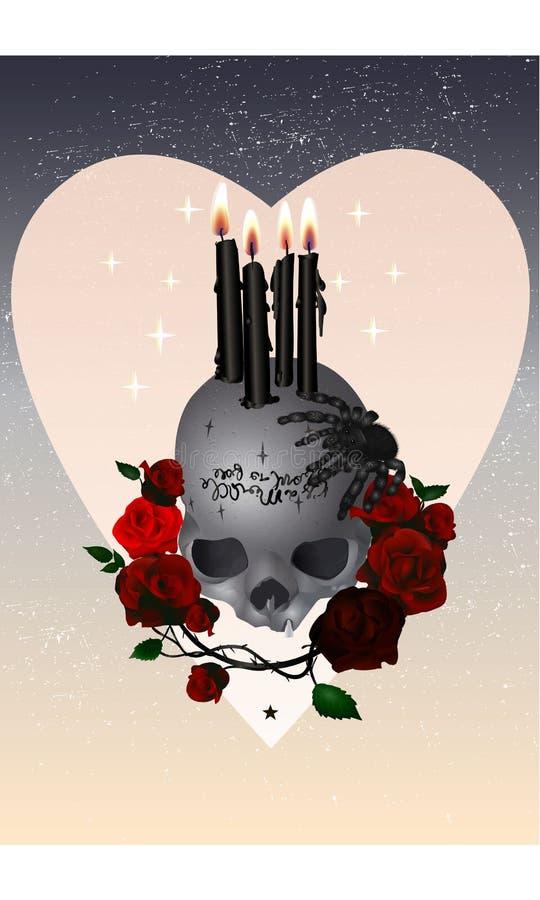 El cráneo con las velas, araña de Halloween y rosesHalloween el cráneo con las velas, la araña y las rosas fotografía de archivo