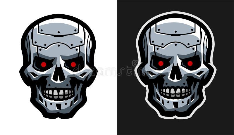 El cráneo del metal del robot Dos versiones ilustración del vector