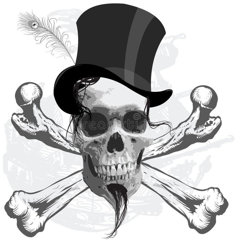 El cráneo del pirata - y nave ilustración del vector