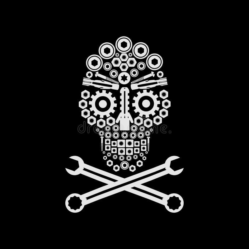 El cráneo emperna rompecabezas automotriz de la cosechadora ilustración del vector