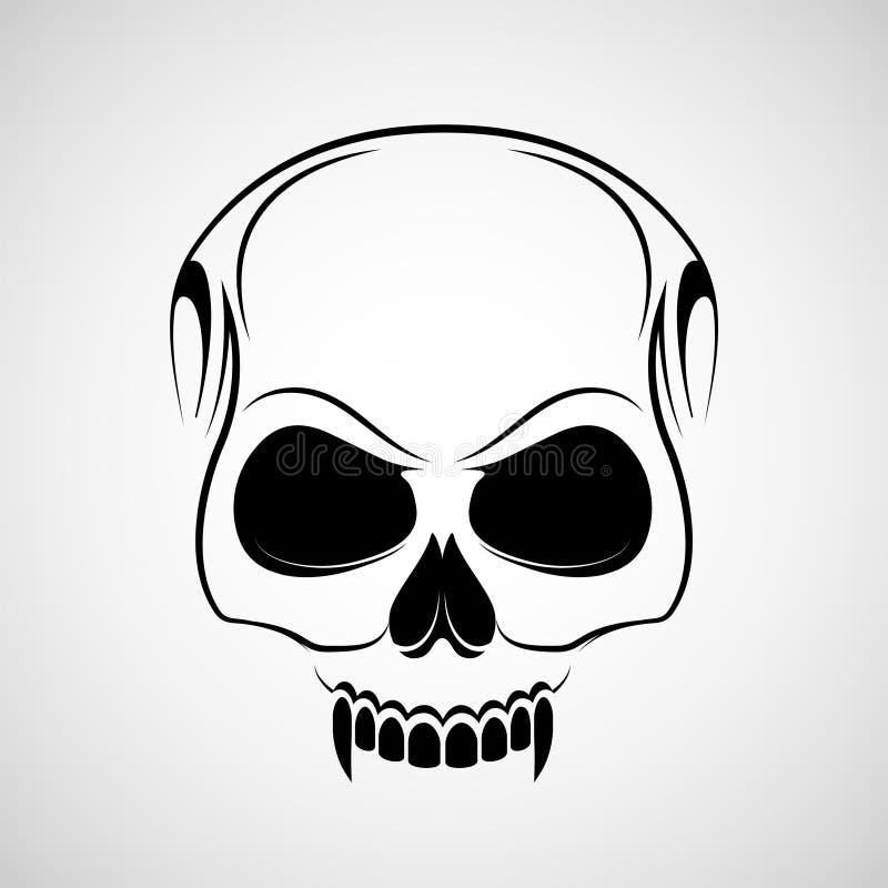 El cráneo es un vampiro con los colmillos Tatuaje del logotipo aislado en el fondo blanco stock de ilustración