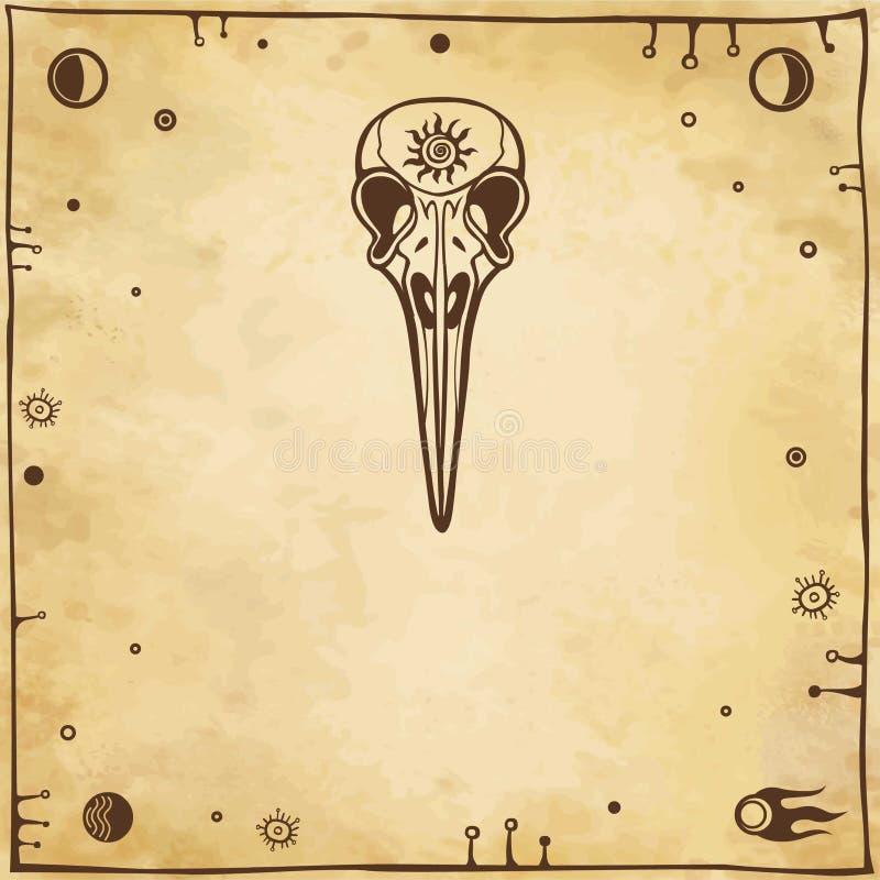 El cráneo estilizado de un pájaro fantástico stock de ilustración
