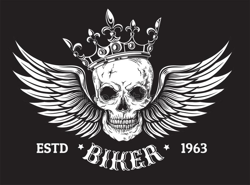 El cráneo humano con las alas y la corona para el tatuaje diseñan stock de ilustración