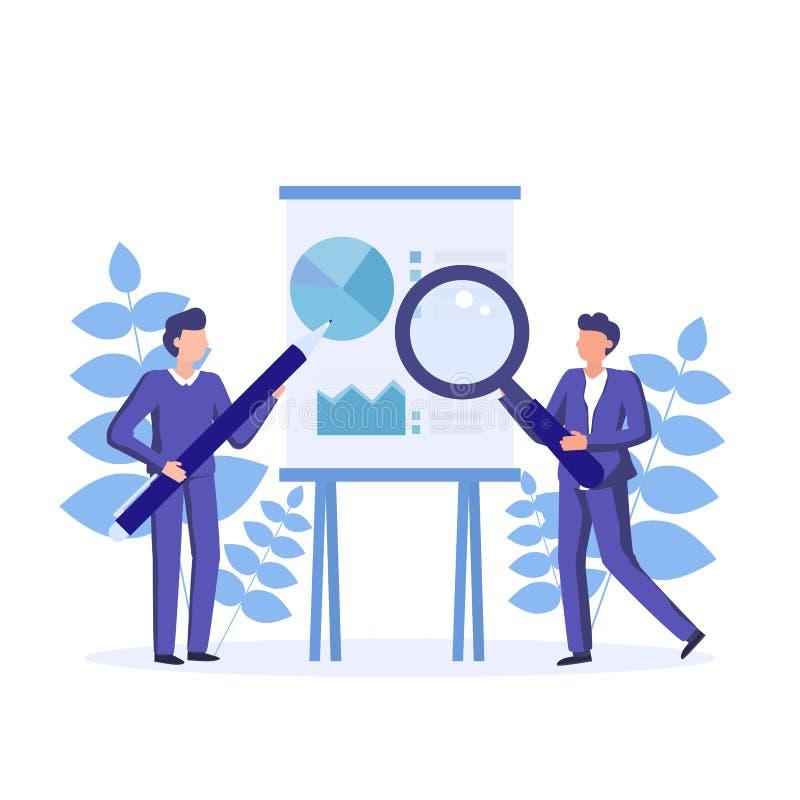 El crear de estados financieros, informes del accionista Diseño de estrategias financieras Informe analítico de las finanzas Nego ilustración del vector
