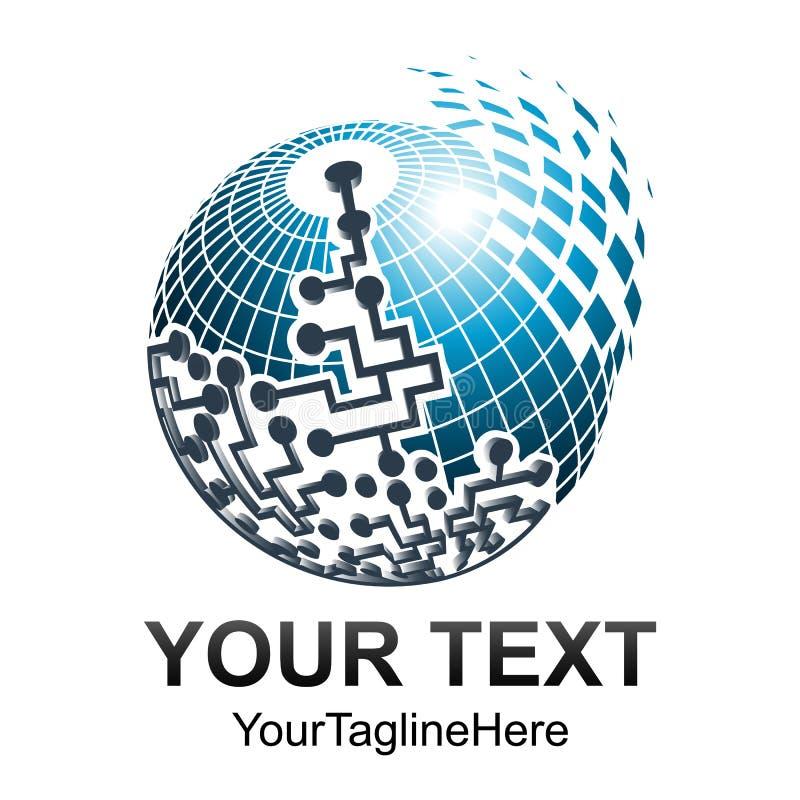 EL creativo del modello di progettazione di logo di vettore della sfera del pixel dell'estratto 3d illustrazione di stock
