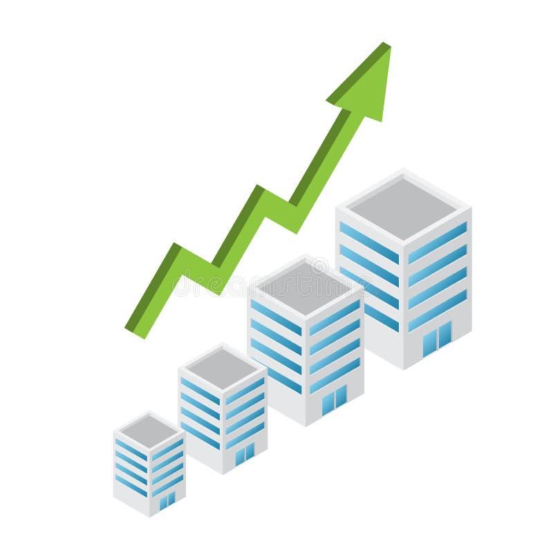 El crecer de las propiedades inmobiliarias con la flecha imágenes de archivo libres de regalías