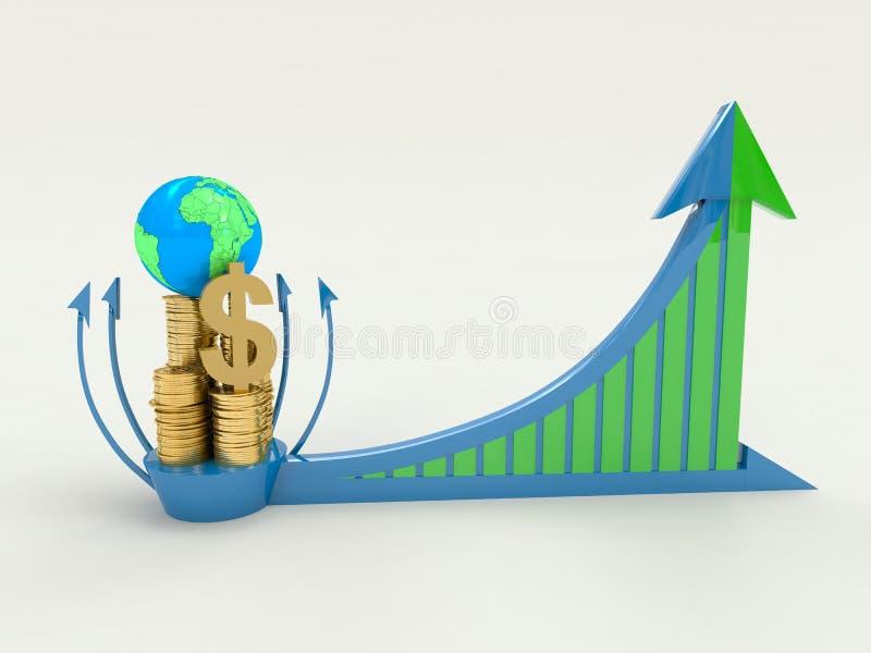 El crecimiento de beneficio global (asunto) ilustración del vector
