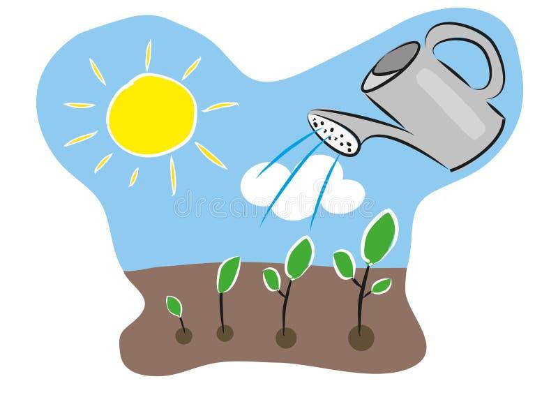 El crecimiento de la cronología de la planta con agua puede, suelo, sol, cielo y las nubes Ejemplo dibujado mano artística ilustración del vector