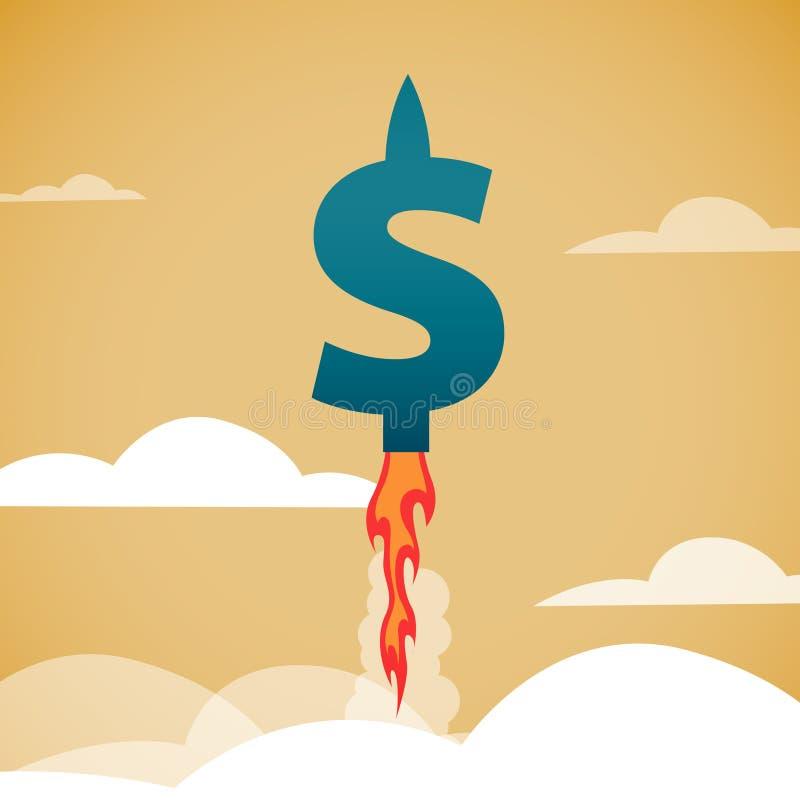 El crecimiento rápido del dólar stock de ilustración