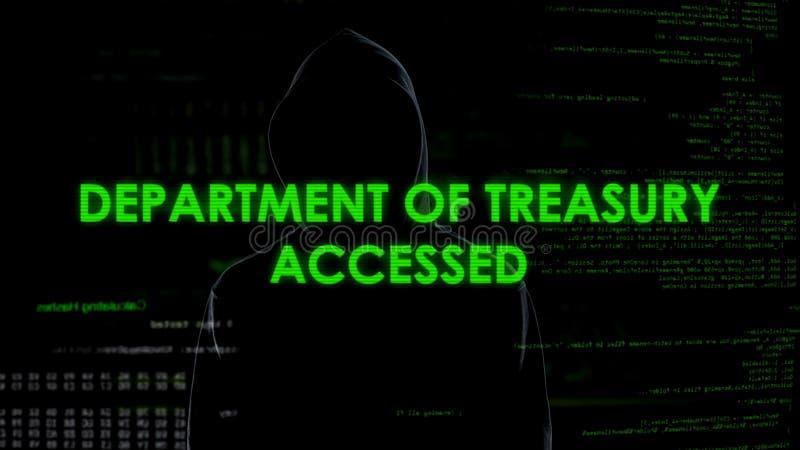 El criminal de ordenador consigue el acceso al departamento de Hacienda, blanqueo de dinero foto de archivo libre de regalías
