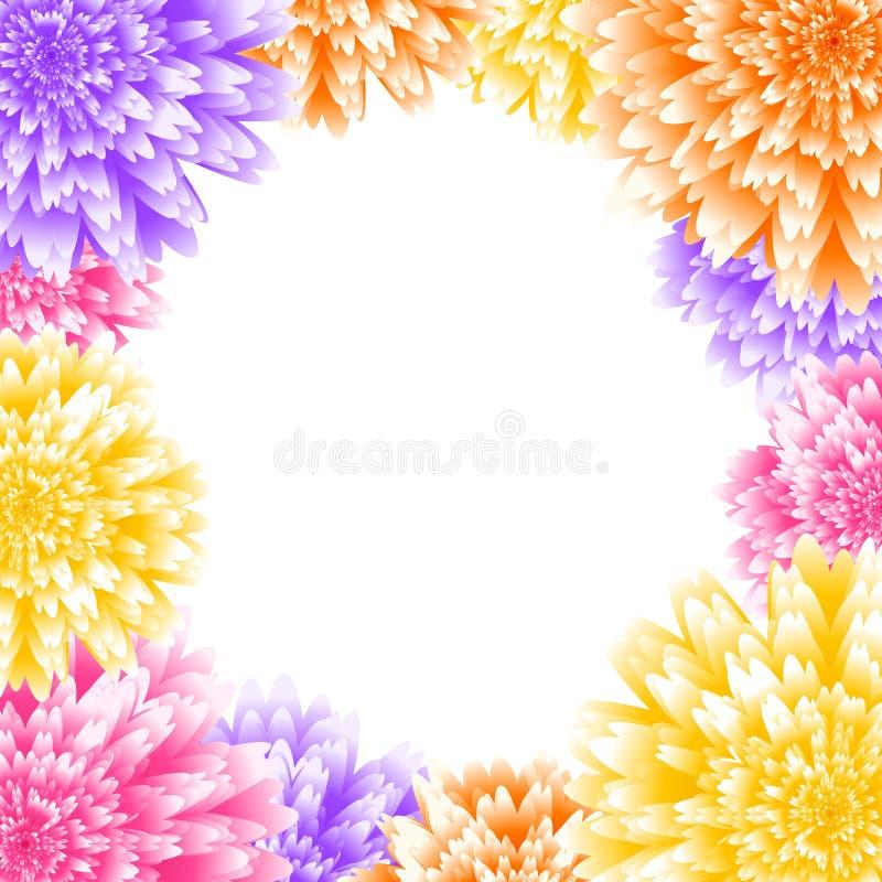 El crisantemo del vector florece el marco Fondo floral de la invitación de la boda stock de ilustración