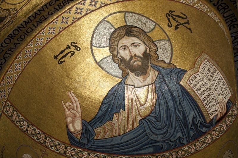El Cristo en Cappella Palatina, Palermo en Sicilia fotografía de archivo