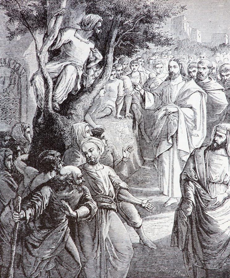 El Cristo que llama la litografía de Zacchaeus imágenes de archivo libres de regalías
