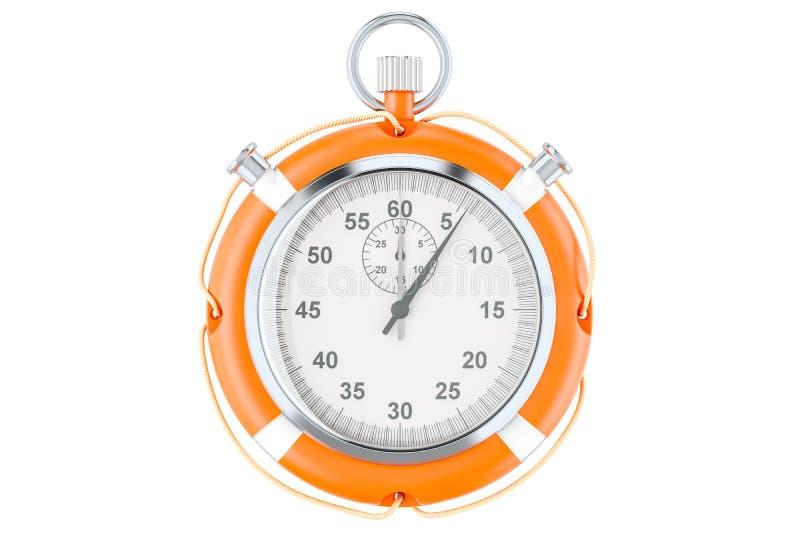 El cronómetro y el salvavidas, ahorran concepto del tiempo representación 3d stock de ilustración