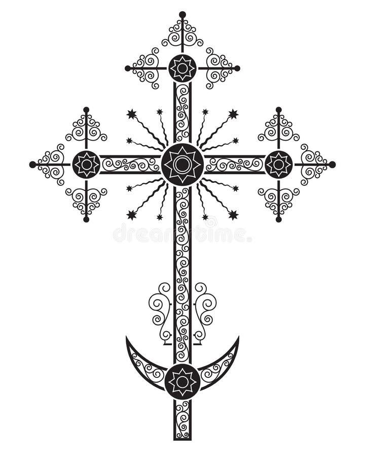 El crucifijo ortodoxo, una de las variaciones, está instalado generalmente en la bóveda de la iglesia stock de ilustración