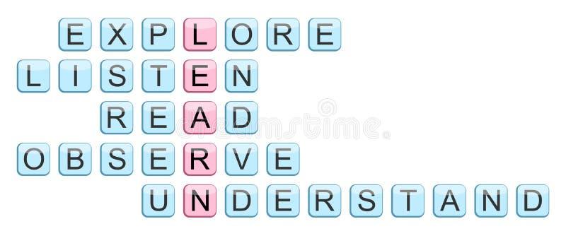 El crucigrama para la palabra aprende stock de ilustración