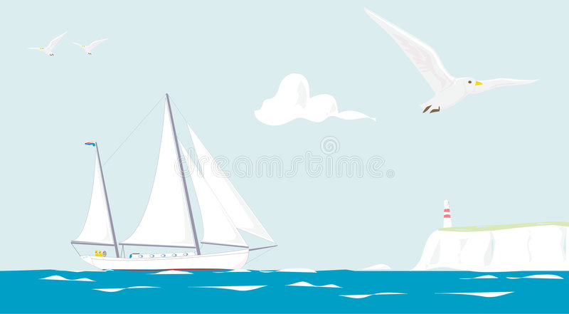 El cruzar del yate de la navegación stock de ilustración